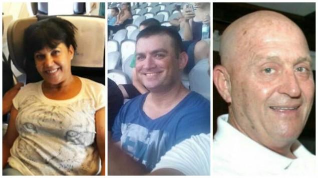سيمحا ديمري (من اليسار)، 60 عاما، ويوناتان سوهر (في الوسط)، 40 عاما، وأفراهام غولدمان (من اليمين)، 69 عاما، الإسرائيليون الثلاثة الذين قُتلوا في الهجوم الإنتحاري في إسطنبول، 19 مارس، 2016. (Photos courtesy of the families/Facebook via JTA)