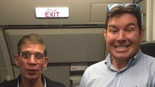 Briton Benjamin Innes, 26, seen with EgyptAir hijacker Seif Eldin Mustafa (left). (Twitter screen capture)