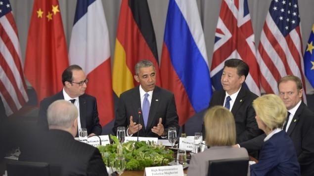 """الرئيس الأمريكي باراك أوباما (في الوسط) يتحدث خلال الجلسة الإفتتاحية لقمة الأمن النووي في مركز المؤتمرات """"والتر اي واشنطن"""" في 1 أبريل، 2016 في العاصمة واشنطن (AFP / Mandel Ngan)"""