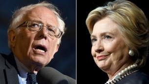 من اليسار المرشح الديمقراطي للرئاسة بيرني ساندرز في 31 مارس، 2016، ومن اليمين منافسته هيلاري كلينتون في 30 مارس، 2016. (AFP/Photo Desk)