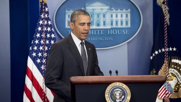 الرئيس الأمريكي باراك اوباما خلال مؤتمر صحفي في البيت الابيض، 5 ابريل 2016 (SAUL LOEB / AFP)