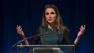 الملكة رانيا في واشنطن، 15 ابريل 2016 (MOLLY RILEY/AFP)
