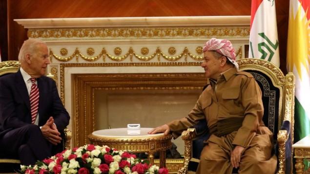 نائب الرئيس الأمريكي جو بايدن يلتقي يقائد الاكراد في العراق مسعود برزاني في اربيل، عاصمة اقليم كردستان العراق، 28 ابريل 2016 (SAFIN HAMED / AFP)