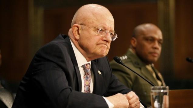 مدير الإستخبارات الوطنية الأمريكية جيمس كلابر في العاصمة واشنطن، 26 فبراير، 2015. (Evy Mages/Getty Images/AFP)