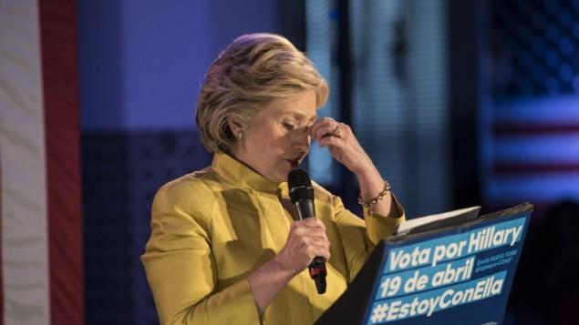 المرشحة الديمقراطية ووزيرة الخارجية السابقة هيلاري كلينتون في نيويورك، 9 ابريل 2016 (Andrew Renneisen/Getty Images/AFP)