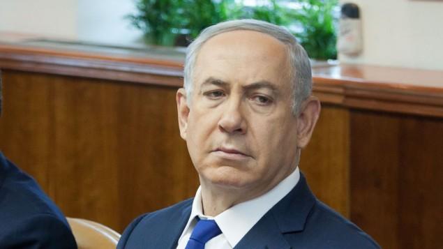 رئيس الوزراء بينيامين نتنياهو خلال الجلسة الأسبوعية للحكومة في القدس، 21 فبراير، 2016. (Emil Salman/Pool)