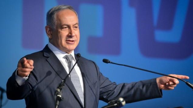 رئيس الوزراء بنيامين نتنياهو في تل ابيب، 14 ابريل 2016 (Flash90)