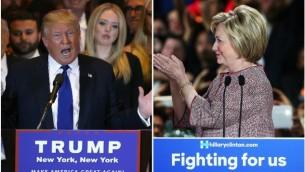 دونالد ترامب وهيلاري كلينتون يحتفلان بإنتصاريهما في الإنتخابات التمهيدية في مدينة نيويوك، 19 أبريل، 2016. (Spencer Platt and John Moore/Getty Images via JTA)