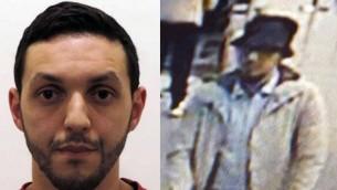 يعتقد ان محمد عبريني، المشتبه في اعتداءات باريس، في الصورة على اليسار التي نشرتها الشرطة البلجيكية، هو 'الرجل الثالث' في اعتداء مطار بروكسل في 22 ةارس (AFP Photo/Belgian Federal Police/STR and Twitter)