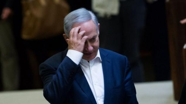 رئيس الوزراء بينيامين نتنياهو في الكنيست، 28 مارس، 2016. (Yonatan Sindel/Flash90)
