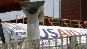 سفينة مساعدات تابعة لوكالة 'يو اس ايد' في السودان، 5 مايو 2016 (ASHRAF SHAZLY / AFP)