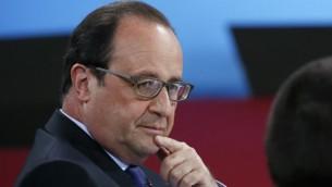 الرئيس الفرنسي فرانسوا هولاند خلال مؤتمر في باريس، 19 مايو 2016 (GONZALO FUENTES / POOL / AFP)