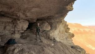 مغارة الجماجم في صحراء يهودا، حيث تم اعتقال 6 فلسطينيين قاموا بالتنقيب عن الاثار في 30 نوفمبر 2014 (Courtesy of the Israel Antiquities Authority)