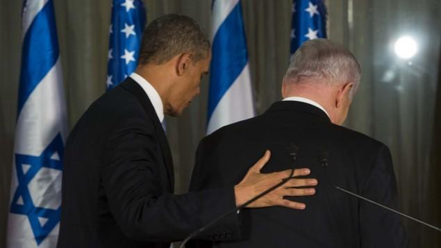 الرئيس الامريكي باراك اوباما ورئيس الوزراء الإسرائيلي بنيامين نتنياهو بعد مؤتمر صحفي في منزل رئيس الوزراء في القدس، 20 مارس 2013 (Yonatan Sindel/Flash90)
