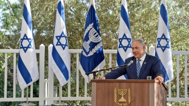 رئيس الوزراء بينيامين نتنياهو يتحدث أمام أعضاء السلك الدبلوماسي في مقر إقامة رئيس الدولة في القدس في 2 مايو، 2016. (Haim Zach/GPO)