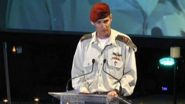 نائب رئيس هيئة الأركان العامة يائير غولان خلال كلمة ألقاها في 5 مايو، 2016. (أخبار القناة 10)