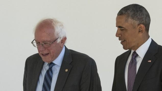 الرئيس الامريكي باراك اوباما مع المرشح الرئاسي الديمقراطي بيرني ساندرز في البيت الابيض، 9 يونيو 2016 (MANDEL NGAN / AFP)