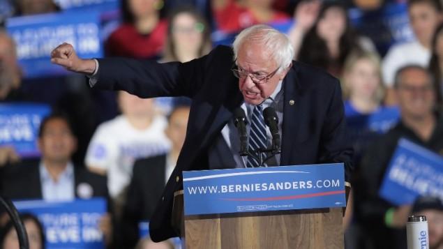 المرشح الديمقراطي للرئاسة الامريكية بيرني ساندرز في كاليفورنيا، 7 يونيو 2016 (Scott Olson/Getty Images/AFP)