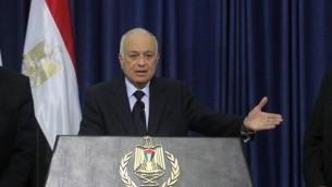 الأمين العام لجامعة الدول العربية نبيل العربي يتحدث في مؤتمر صحفي في مدينة رام الله في الضفة الغربية يوم الجمعة، 29 ديسمبر (Issam Rimawi/Flash90)
