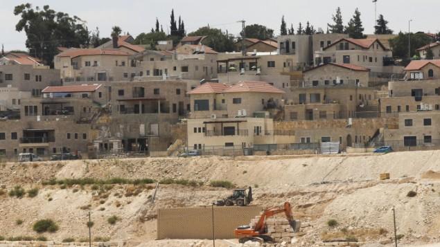 صورة توضيحية لموقع بناء في تقوع، مستوطنة يهودية في الضفة الغربية، 7 سبتبمر، 2014. (Flash90)