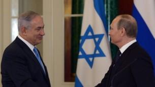 رئيس الوزراء بينيامين نتنياهو يعقد مؤتمرا صحفيا مشتركا مع الرئيس الروسي فلاديمير بوتين في العاصمة الروسية موسكو، 7 يونيو، 2016. (Haim Zach / GPO)