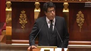 عضو البرلمان الفرنسي يتحدث أمام الجمعية الوطنية في باريس، 28 نوفمبر، 2014. (لقطة شاشة)
