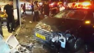 آثار الحادث المروع الذي وقع في شارع بن يهودا في تل أبيب في 18 يونيو، 2016. ((Screen shot/MDA)