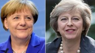 المستشارة الالمانية انغيلا ميركل (يسار) ورئيسة الوزراء البريطانية الجديدة تيريزا ماي (OLI SCARFF THIERRY CHARLIER / AFP)