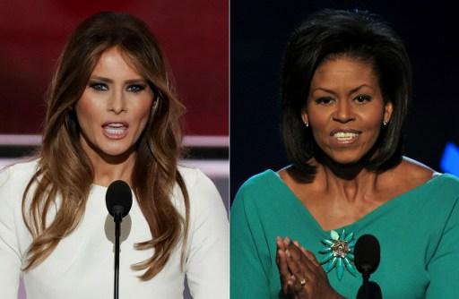 دمج لصورتين من تاريخ 19 يوليو، 2018 يظهر ميلانيا ترامب (من اليسار)، زوجة المرشح الجمهوري المفترض للرئاسة دونالد ترامب، خلال كلملة ألقتها أمام المندوبين في اليوم الأول للمؤتمر العام للحزب الجمهوري في 18 يوليو، 2016 في 'كويكن لونز أرينا' في كليفلاند، أوهايو، وميشيل أوباما، زوجة المرشح الديمقراطي للرئاسة في ذلك الوقت باراك أوباما، تحيي الجمهور في المؤتمر العام للحزب الجمهوري في عام 2008 في 'مركز بيبسي' في دنفر، 25 أغسطس، 2008. (/ AFP PHOTO / ALEX WONG AND PAUL J. RICHARDS)