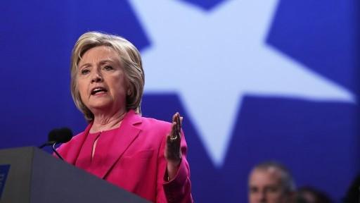 المرشحة الديمقراطية للرئاسة الامريكية هيلاري كلينتون خلال خطاب في واشنطن، 5 يوليو 2016 (Alex Wong/Getty Images/AFP)