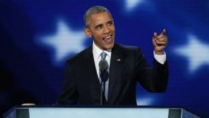 الرئيس الأمريكي باراك أوباما يلقي بخطاب في اليوم الثالث من المؤتمر العام للحزب الديمقراطي في مركز 'ويلز فارغو'، 27 يوليو، 2016 في فيلادلفيا، بنسيلفانيا. (Alex Wong/Getty Images/AFP)