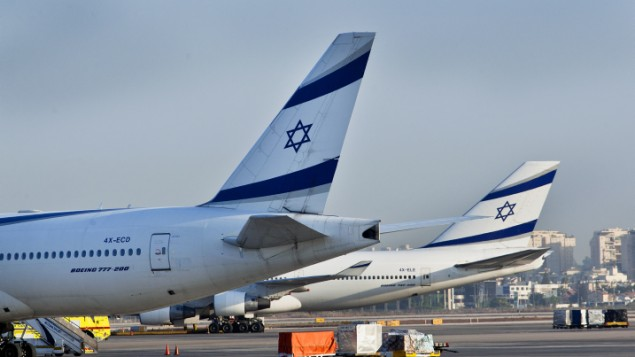 طائرات في مطار بن غوريون الدولي (Moshe Shai/FLASH90)