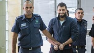بلال ابو غانم في المحكمة المركزية في القدس، 9 نوفمبر 2015 (Yonatan Sindel/Flash90)