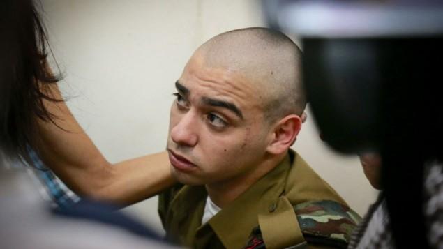 العقيد إيلور عزاريا، الذي أطلق النار على منفذ هجوم فلسطيني عاجز، في قاعة المحكمة العسكرية في يافا، 24 يوليو، 2016. (Flash90)