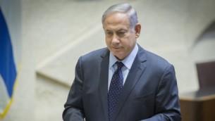 رئيس الوزراء بينيامين نتنياهو يلقي كلمة أمام البرلمان الإسرائيلي في قاعة الكنيست، 28 يونيو، 2016. (Yonatan Sindel/Flash90)