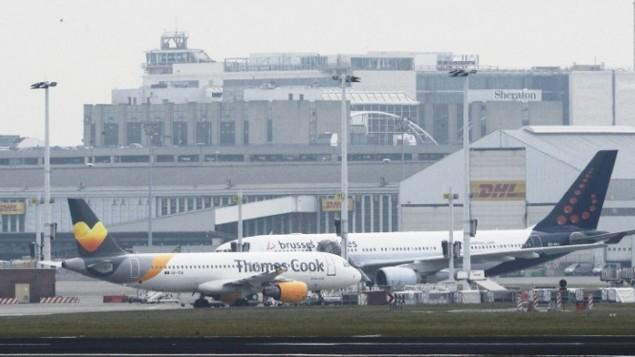 مطار بروكسل، في زافينتيم، 22 مارس، 2016. (AFP/Belga/Dirk Waem)