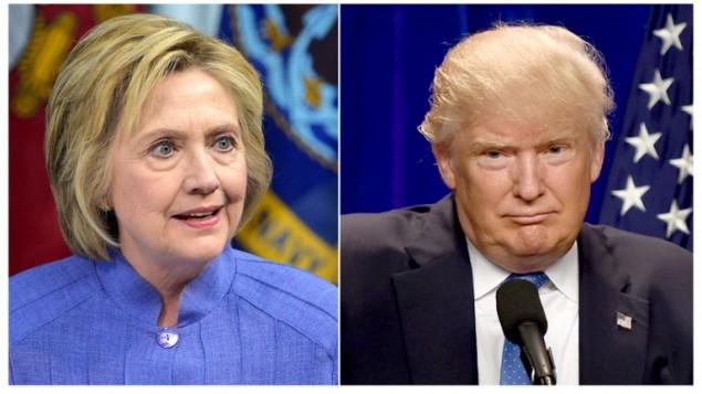صورة مركبة تظهر المرشحة الديمقراطية للررئاسة الامريكية هيلاري كلينتون ومنافسها الجمهوري دونالد ترامب (DSK / AFP)