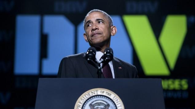 الرئيس الأمريكي باراك أوباما يتحدث أمام المؤتمر العام ال95 لمنظمة ' قدامى المحاربين المعوقين' في 1 أغسطس، 2106 في أتلانتا بولاية جورجيا. (AFP PHOTO / Brendan Smialowski)