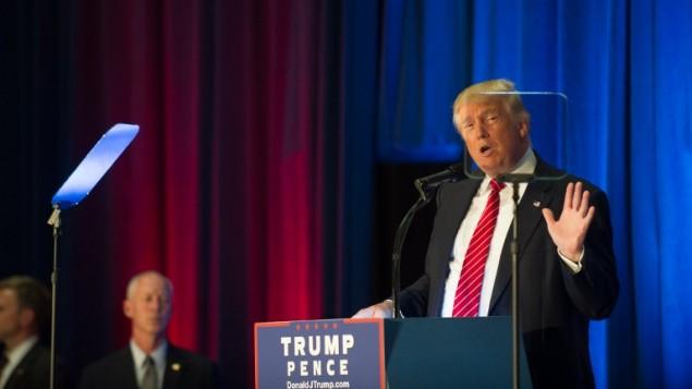 المرشح الجمهوري للرئاسة الامريكية دونالد ترامب خلال خطاب في ولاية اوهايو، 15 اغسطس 2016 (Jeff Swensen/Getty Images/AFP)