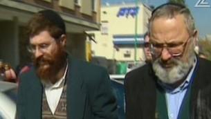 ايلي كوهن، يمين، وافخاي فاينشتين، المتهمان ببيع الاسلحة الى إيران (screen capture: Channel 2)