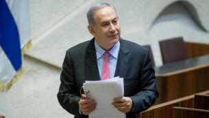 رئيس الوزراء بنيامين نتنياهو في الكنيست، القدس، 3 اغسطس 2016 (Yonatan Sindel/Flash90)