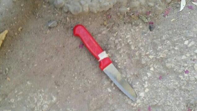 سكين يفترض ان امرأة فلسطينية استخدمته بمحاولة لتنفيذ هجوم طعن في حاجز بالقرب من الحرم الإبراهيمي في الخليل، 9 اغسطس 2016 (Israel Police)