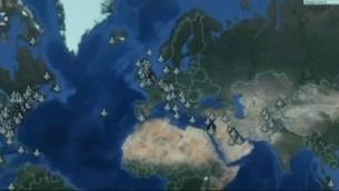 خريطة تظهر عليها قواعد جوية أمريكية تم تحديدها كأهداف محتملة من قبل أعضاء في تنظيم 'الدولة الإسلامية' في مجموعة 'تيليغرام' نجحت شركة إستخبارات أمنية إسرائيلية بإختراقها. (لقطة شاشة: القناة 10)
