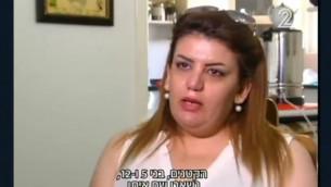 """المرأة اليهودية الكردية التي فرت من العراق إلى إسرائيل بعد أن زعمت أن زوجها المسلم هددها بيعها ل""""داعش"""" خلال حديث لخا مع القناة 2 في أغسطس 2016. (لقطة شاشة: القناة 2)"""