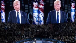 """دونالد خلال كلمة ألقاها في مؤتمر لجنة الشؤون العامة الأمريكية الإسرائيلية (إيباك) في مركز """"فيرايزون"""" في العاصمة واشنطن، 21 مارس، 2016. (Saul Loeb/AFP/Getty Images via JTA)"""