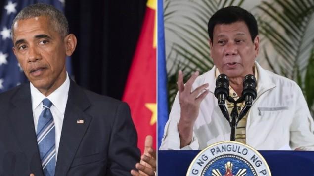 صورة مركبة لصورتين تم التقاطها في 5 سبتمبر، تظهر الرئيس الامريكي باراك اوباما، على اليسار، خلال مؤتمر صحفي، والرئيس الفيليبيني رودريغو دوتيرتي ايضا خلال مؤتمر صحفي (AFP / Saul Loeb and Manman Dejeto)