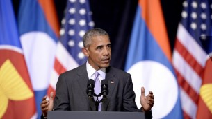 الرئيس الاميركي باراك اوباما خلال خطاب في فينتيان عاصمة لاوس على هامش اجتماع قادة اقليميين تستضيفه رابطة دول جنوب شرق آسيا، 6 سبتمبر 2016 (NOEL CELIS / AFP)