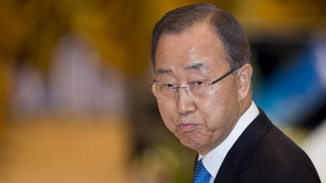 الامين العام للامم المتحدة بان كي مون في فيينتيان، 7 سبتمبر 2016 (AFP / YE AUNG THU)
