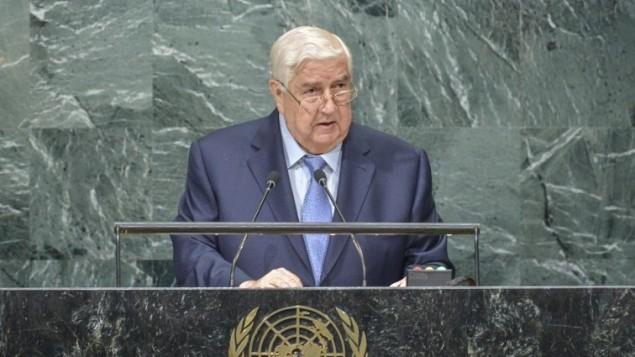 وزير الخارجية السوري ونائب رئيس الوزراء وليد المعلم خلال كلمته أمام الدورة ال71 للجمعية العامة للأمم المتحدة في نيويورك، 24 سبتمبر، 2016. (AFP/Kena Betancur)