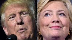 صورة مركبة تظهر المرشحة الديمقراطية للررئاسة الامريكية هيلاري كلينتون ومنافسها الجمهوري دونالد ترامب (AFP)